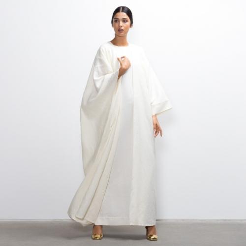Hybrid Abaya in White Linen