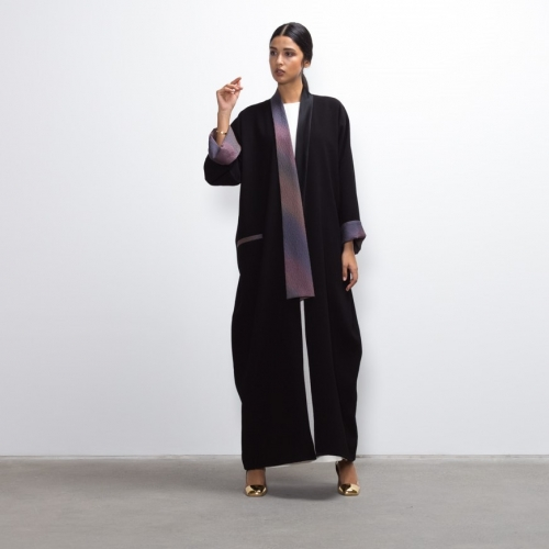 Purple Silk Collar Abaya