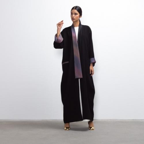 Purple Silk Collar Abaya