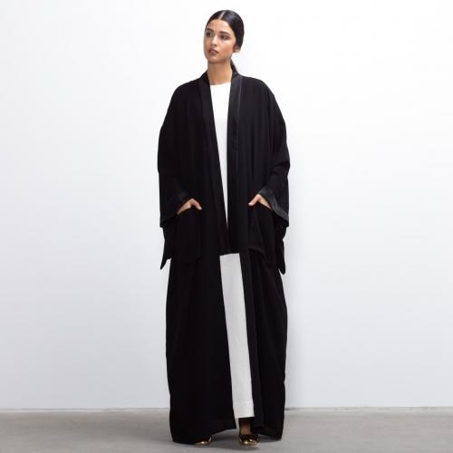 Black on Black kimono abaya