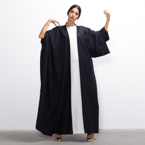 Hybrid Abaya in Black Linen