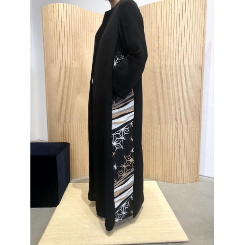 Starry northern lights black Abaya with woven sides