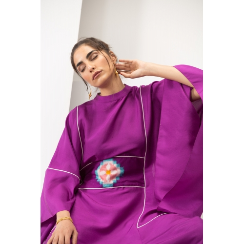 Fuschia Silk Kaftan with...