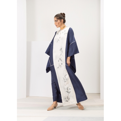 Dark Blue Silk Kaftan Hand...