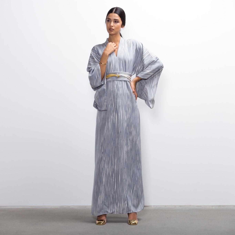 Blue Rain Silk Kimono Kaftan Dress