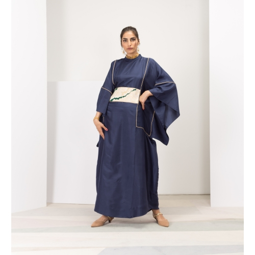 Dark Blue Silk Kaftan with Gold Belt Limited Edition