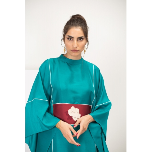 Green Silk Kaftan with White Rose Limited Edition