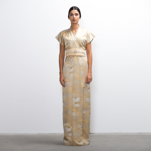 Gold Silk Overlap Dress