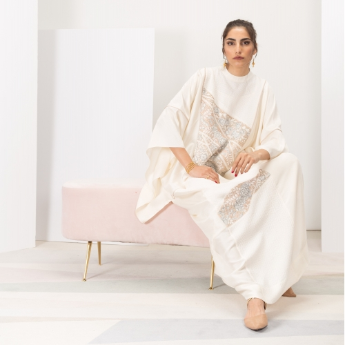 White Silk Kaftan Woven Limited Edition
