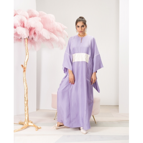 Light Purple Silk Kaftan with White Obi Limited Edition