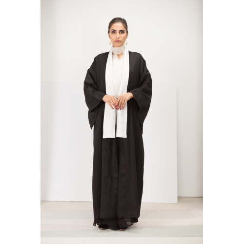 Black Linen Kimono Abaya with White Silk Collar