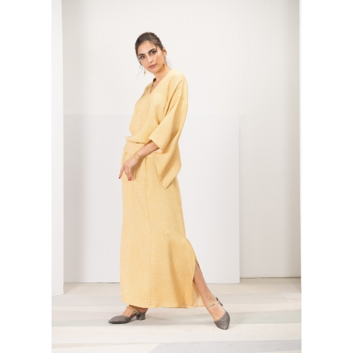Yellow Shibori Kaftan Dress...