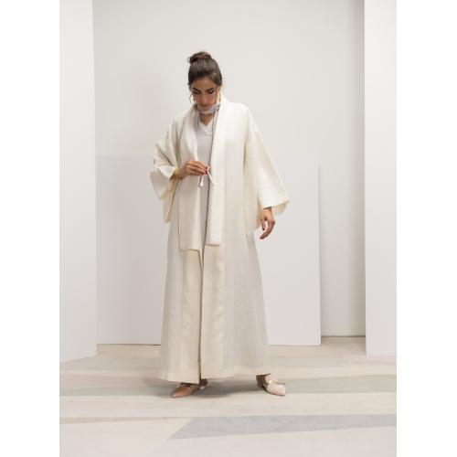 White Linen Kimono Abaya...
