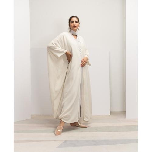 Off-white Flow Linen Net Abaya