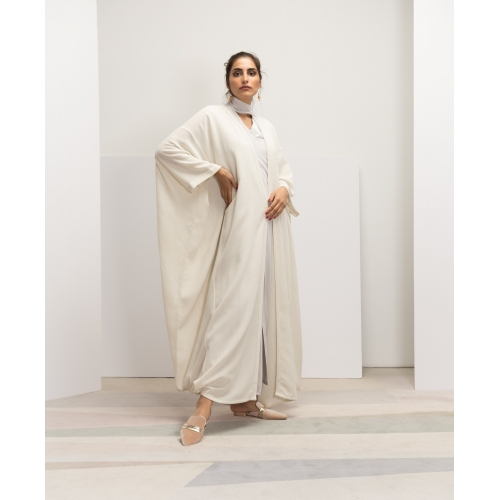 Off-white Linen Net Abaya