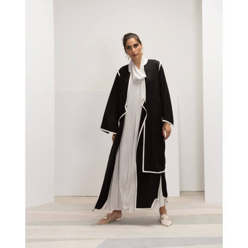 Abaya with white silk edging