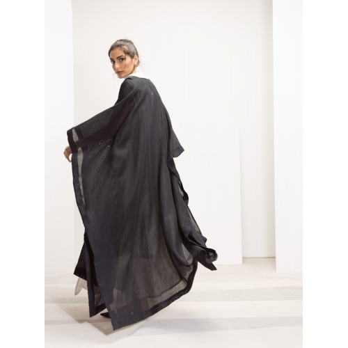 Black Linen Net Abaya