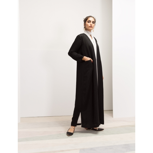 Front Panel Ribbed Black Abaya