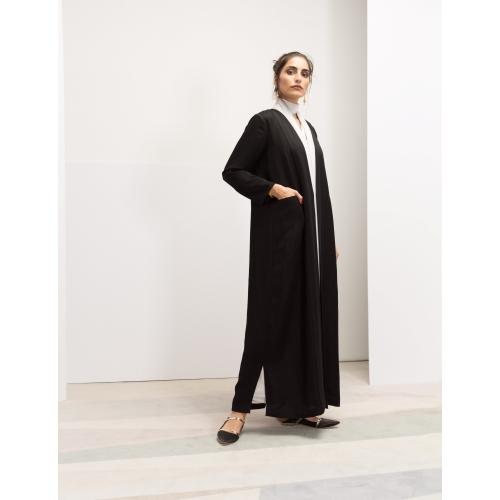 Front Panel Ribbed Black Abaya