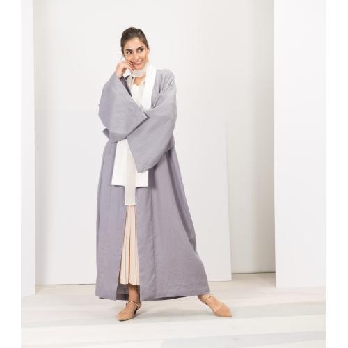 Kimono Abaya in Grey Blue Linen