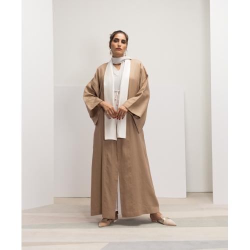 Linen Kimono Abaya with white obi back