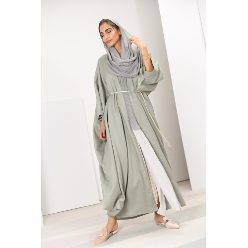 Hybrid Abaya in Green Linen
