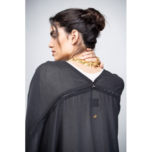 Black Flow Transparent Abaya