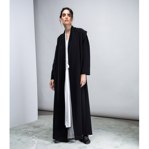 Black Convertible Abaya in Crepe