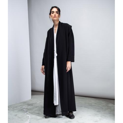 Black Convertible Abaya in Crepe