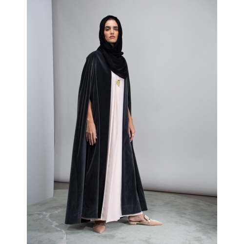 JAPANESE GRAY LUXURY VELVET CAPE ABAYA