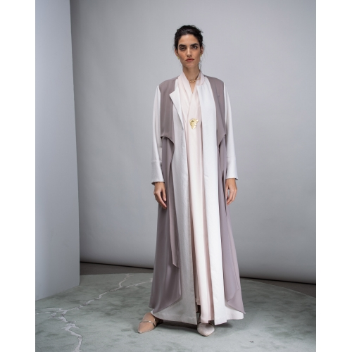 Abaya Double Layered with Grey Front