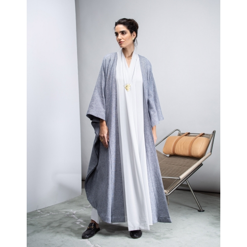FLOW ABAYA IN BLUE TONE