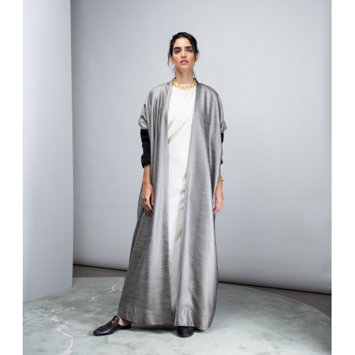 SLICK GRAY ABAYA WITH BLACK SLEEVES