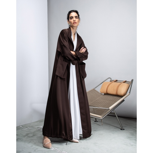Trench Coat Abaya in Brown