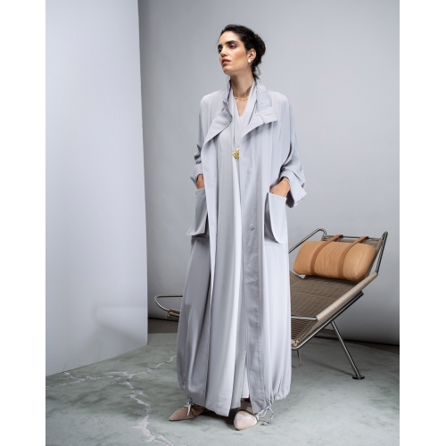 TRENCH COAT ABAYA LIGHT GRAY