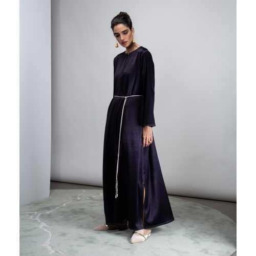 DARK BLUE SATIN KAFTAN