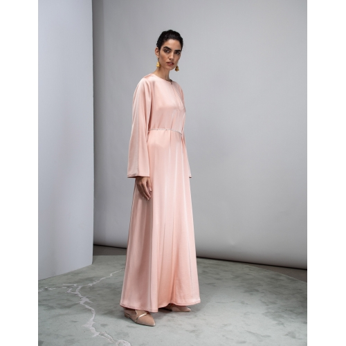 LIGHT ROSE SATIN KAFTAN