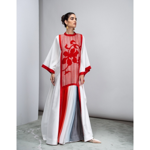 RED & WHITE PURE SILK KAFTAN