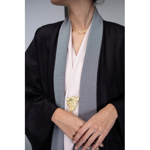 KIMONO ABAYA IN BLACK LINEN WITH GREY NOISE COLLAR