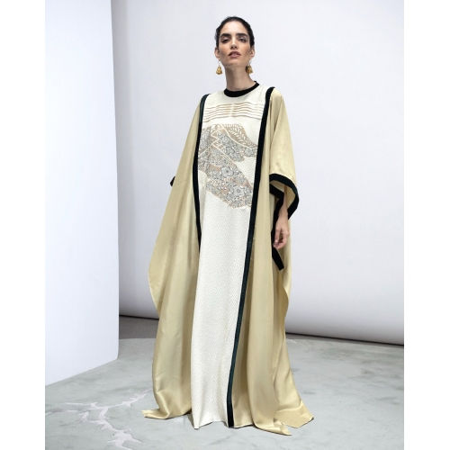 GREEN TEA / IVORY WHITE KAFTAN