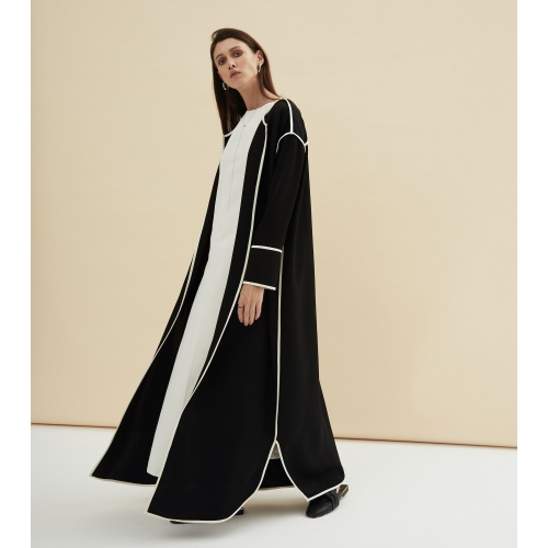 LUXURY BLACK RIBBED STRIPE ABAYA