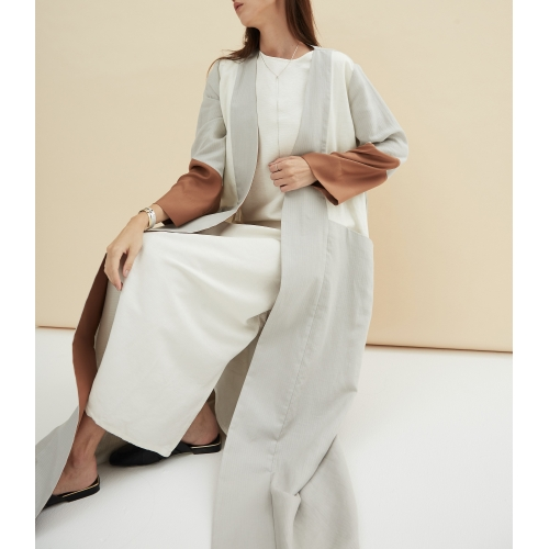 GRAY, WHITE & COPPER LINEN ABAYA