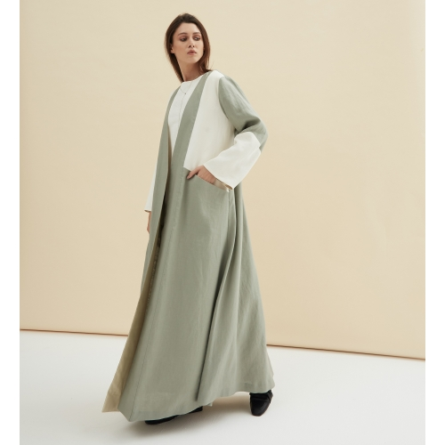 MINT GREEN AND WHITE LINEN ABAYA