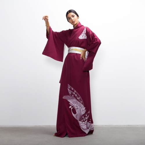 Magenta Crane Silk Kimono