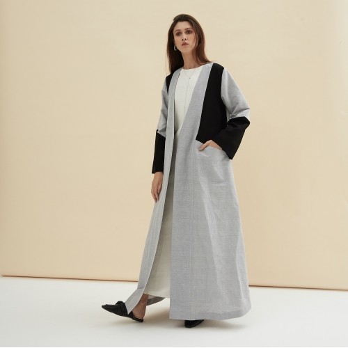GRAY BLACK STRUCTURED LINEN ABAYA