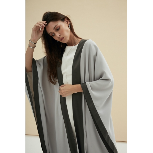 LIGHT GRAY FLOW ABAYA