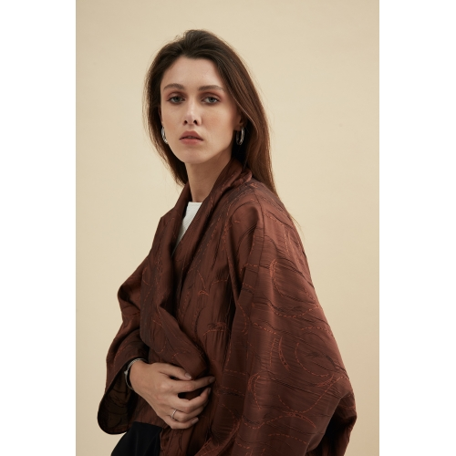 DOUBLE-TONE COPPER JACQUARD ABAYA