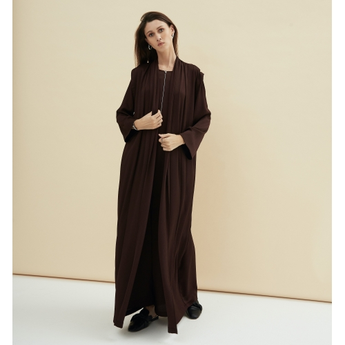 BURGUNDY BROWN ABAYA-DRESS IN-1