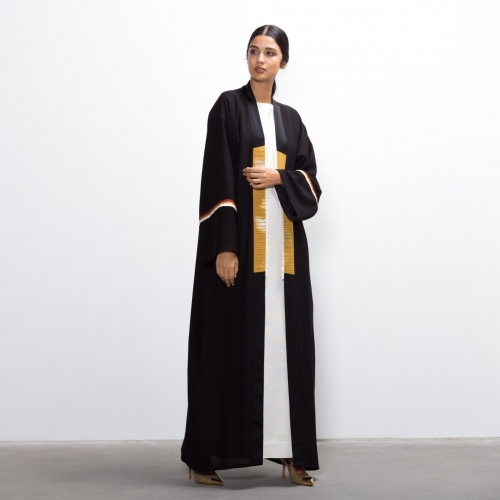Ribbed Golden Collar Abaya