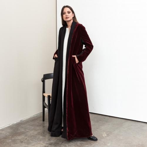Maroon Velvet Abaya